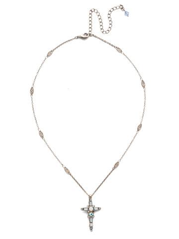 Delicate Sliding Cross Pendant Necklace in Antique Silver-tone Glacier