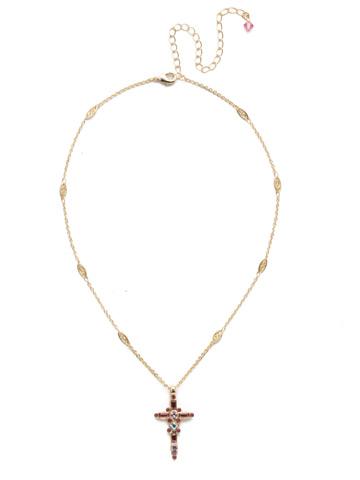 Delicate Sliding Cross Pendant Necklace in Bright Gold-tone Island Sun
