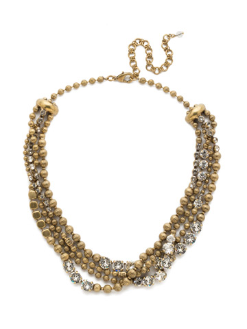 Jessamine Necklace in Antique Gold-tone Crystal