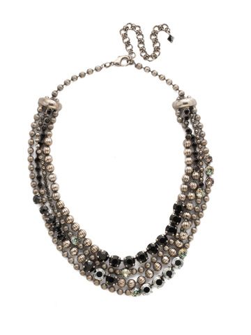 Jessamine Necklace in Antique Silver-tone Black Onyx