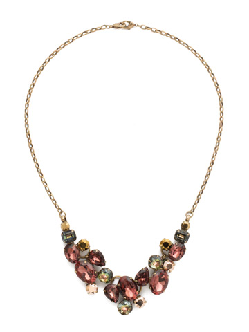 Forget-Me-Not Necklace in Antique Gold-tone Mahogany