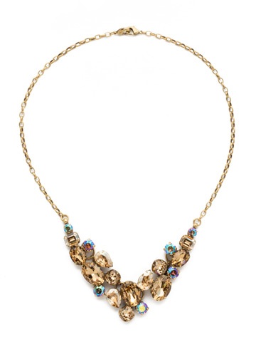 Forget-Me-Not Necklace in Antique Gold-tone Neutral Territory