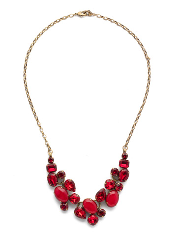 Forget-Me-Not Necklace in Antique Gold-tone Sansa Red