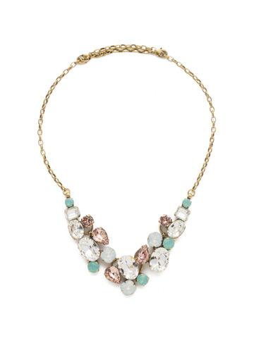 Forget-Me-Not Necklace in Antique Gold-tone White Magnolia