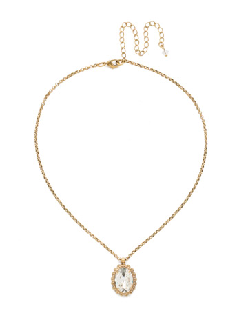 Camellia Pendant Necklace in Antique Gold-tone Crystal