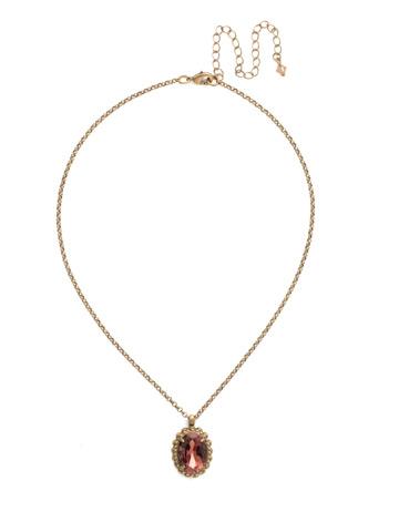 Camellia Pendant Necklace in Antique Gold-tone Mahogany
