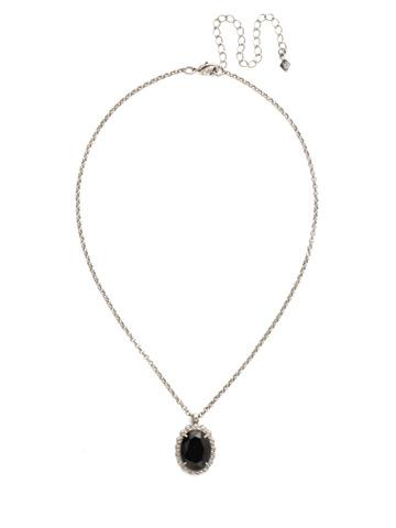 Camellia Pendant Necklace in Antique Silver-tone Black Onyx