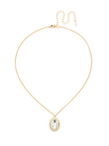 Camellia Pendant Necklace in Bright Gold-tone Crystal