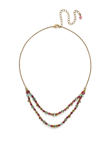 Vinca Necklace in Antique Gold-tone Botanical Brights