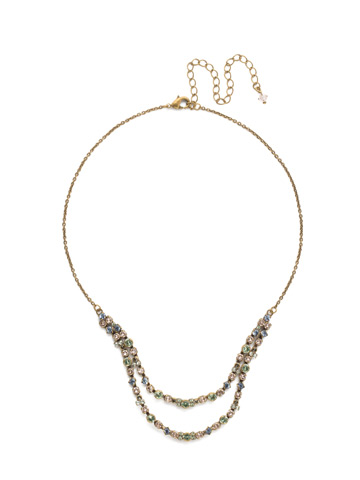 Vinca Necklace in Antique Gold-tone Washed Waterfront