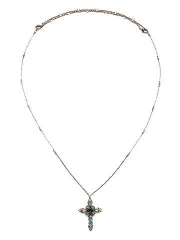 Elowen Necklace in Antique Silver-tone Blue Suede