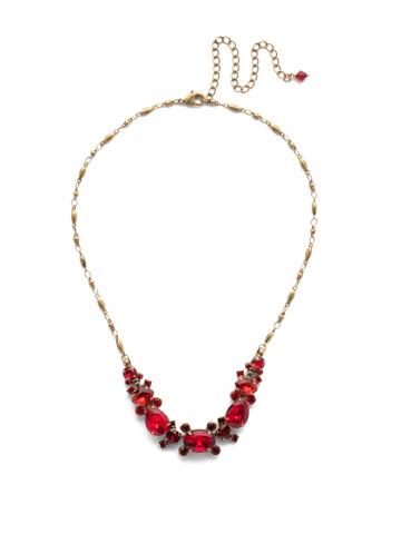 Laurel Necklace in Antique Gold-tone Sansa Red