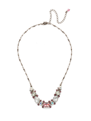 Laurel Necklace in Antique Silver-tone Misty Pink