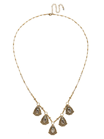 Aconitum Necklace in Antique Gold-tone Washed Waterfront