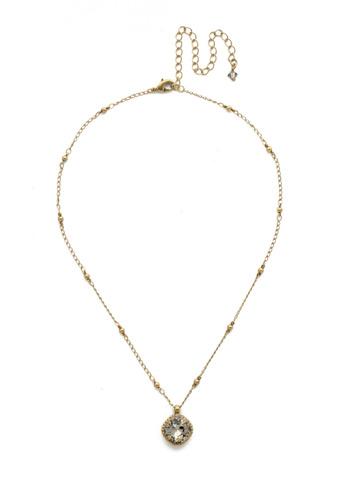 Cushion-Cut Solitaire Necklace in Antique Gold-tone Black Diamond