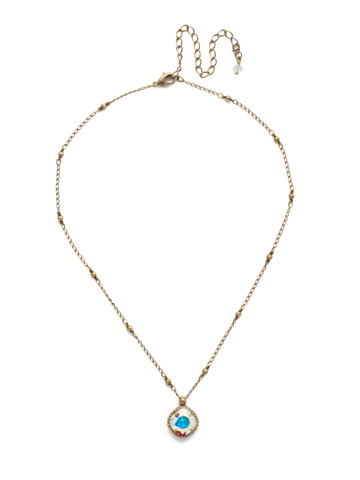 Cushion-Cut Solitaire Necklace in Antique Gold-tone Crystal Aurora Borealis