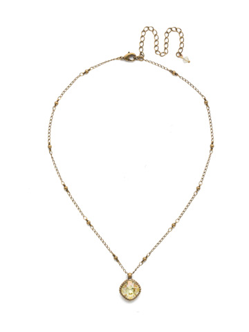 Cushion-Cut Solitaire Necklace in Antique Gold-tone Crystal Champagne