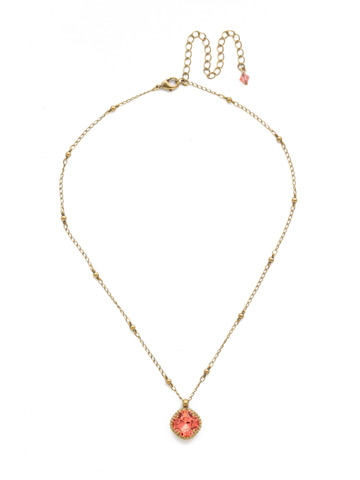 Cushion-Cut Solitaire Necklace in Antique Gold-tone Coral