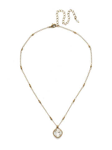 Cushion-Cut Solitaire Necklace in Antique Gold-tone Crystal
