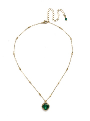 Cushion-Cut Solitaire Necklace in Antique Gold-tone Emerald