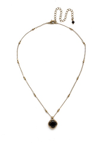 Cushion-Cut Solitaire Necklace in Antique Gold-tone Jet