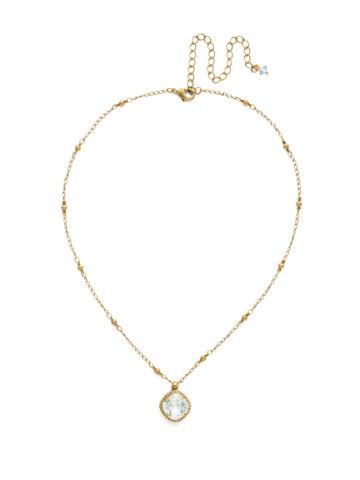 Cushion-Cut Solitaire Necklace in Antique Gold-tone Light Aqua
