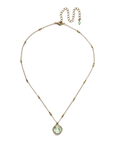 Cushion-Cut Solitaire Necklace in Antique Gold-tone Mint
