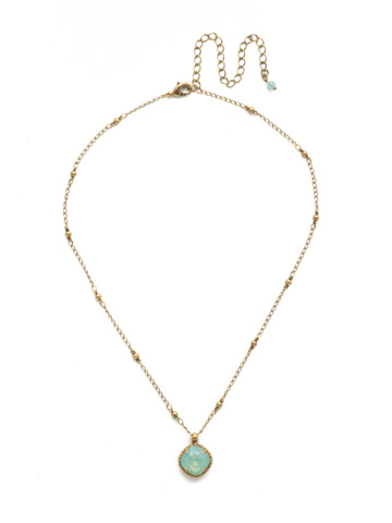 Cushion-Cut Solitaire Necklace in Antique Gold-tone Pacific Opal