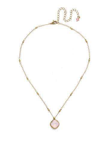 Cushion-Cut Solitaire Necklace in Antique Gold-tone Rose Water