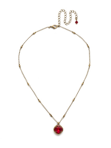 Cushion-Cut Solitaire Necklace in Antique Gold-tone Siam