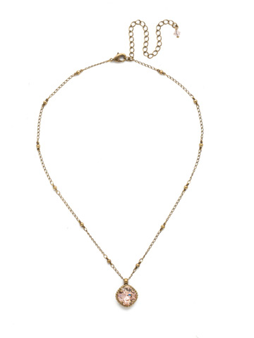 Cushion-Cut Solitaire Necklace in Antique Gold-tone Vintage Rose