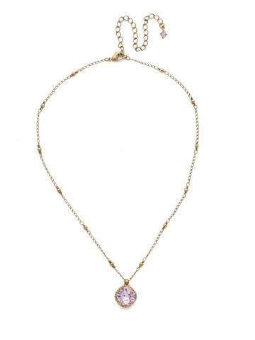 Cushion-Cut Solitaire Necklace in Antique Gold-tone Violet