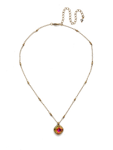 Cushion-Cut Solitaire Necklace in Antique Gold-tone Volcano