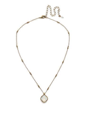 Cushion-Cut Solitaire Necklace in Antique Gold-tone White Opal
