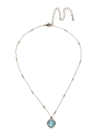 Cushion-Cut Solitaire Necklace in Antique Silver-tone Aquamarine