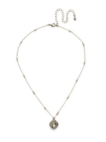 Cushion-Cut Solitaire Necklace in Antique Silver-tone Black Diamond