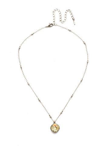Cushion-Cut Solitaire Necklace in Antique Silver-tone Crystal Champagne