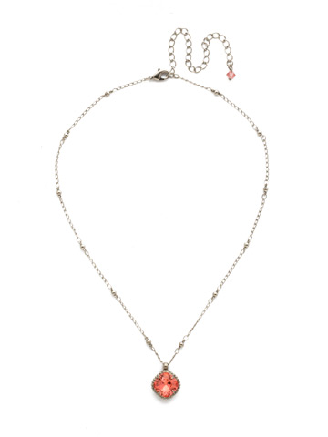 Cushion-Cut Solitaire Necklace in Antique Silver-tone Coral