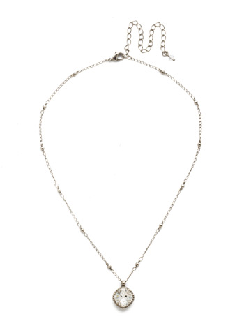 Cushion-Cut Solitaire Necklace in Antique Silver-tone Crystal
