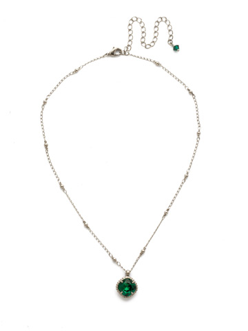 Cushion-Cut Solitaire Necklace in Antique Silver-tone Emerald