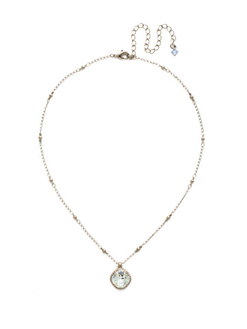 Cushion-Cut Solitaire Necklace in Antique Silver-tone Light Aqua