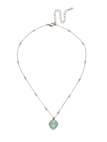 Cushion-Cut Solitaire Necklace in Antique Silver-tone Pacific Opal