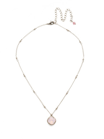 Cushion-Cut Solitaire Necklace in Antique Silver-tone Rose Water