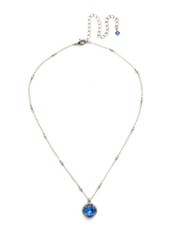 Cushion-Cut Solitaire Necklace in Antique Silver-tone Sapphire