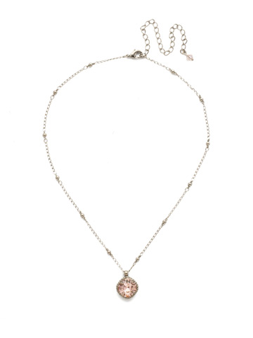 Cushion-Cut Solitaire Necklace in Antique Silver-tone Vintage Rose