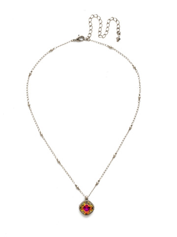 Cushion-Cut Solitaire Necklace in Antique Silver-tone Volcano