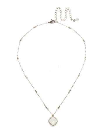 Cushion-Cut Solitaire Necklace in Antique Silver-tone White Opal