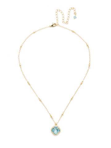 Cushion-Cut Solitaire Necklace in Bright Gold-tone Aquamarine