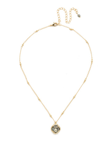 Cushion-Cut Solitaire Necklace in Bright Gold-tone Black Diamond