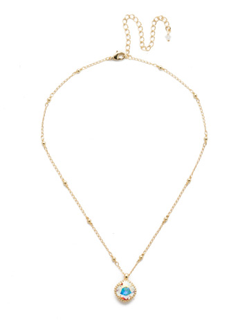 Cushion-Cut Solitaire Necklace in Bright Gold-tone Crystal Aurora Borealis